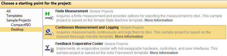 LabVIEW Data Logger Sample Project with Templates & Frameworks
